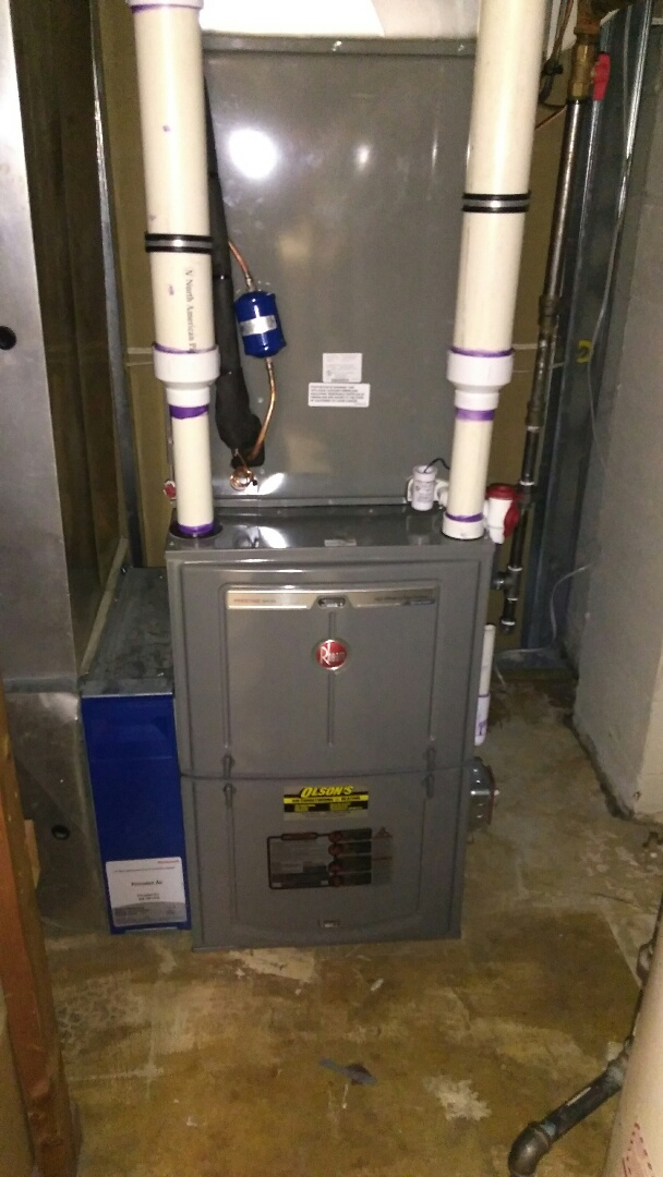 South Brunswick Township, NJ - Install rheem 85k btu 96% furance with 3 ton coil and condenser install safety drain pan switch install condsate pump with over flow protection install new line set and condsate trap check and test heat check and charge air conditioning