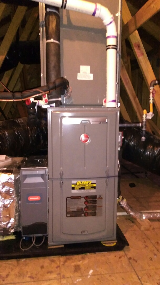 South Brunswick Township, NJ - Remove and install Rheem 96% 70k btu high efficiency furnace with 16 seer 3 ton Rheem coil and condenser install condensate drain pan with wet switch install coil drain pan safety switch check and test heating check and change air conditioning and adjust as needed
