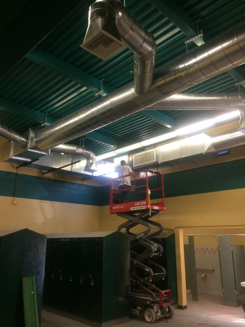 Local team locker room had new duct work and a new American standard air conditioning unit installed.