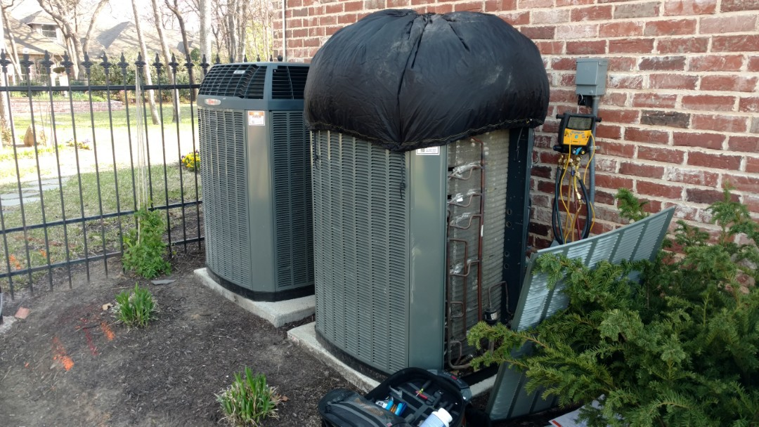 Keller, TX - Cooling maintenance on Trane systems. Blanket on to compensate for low ambient temperature