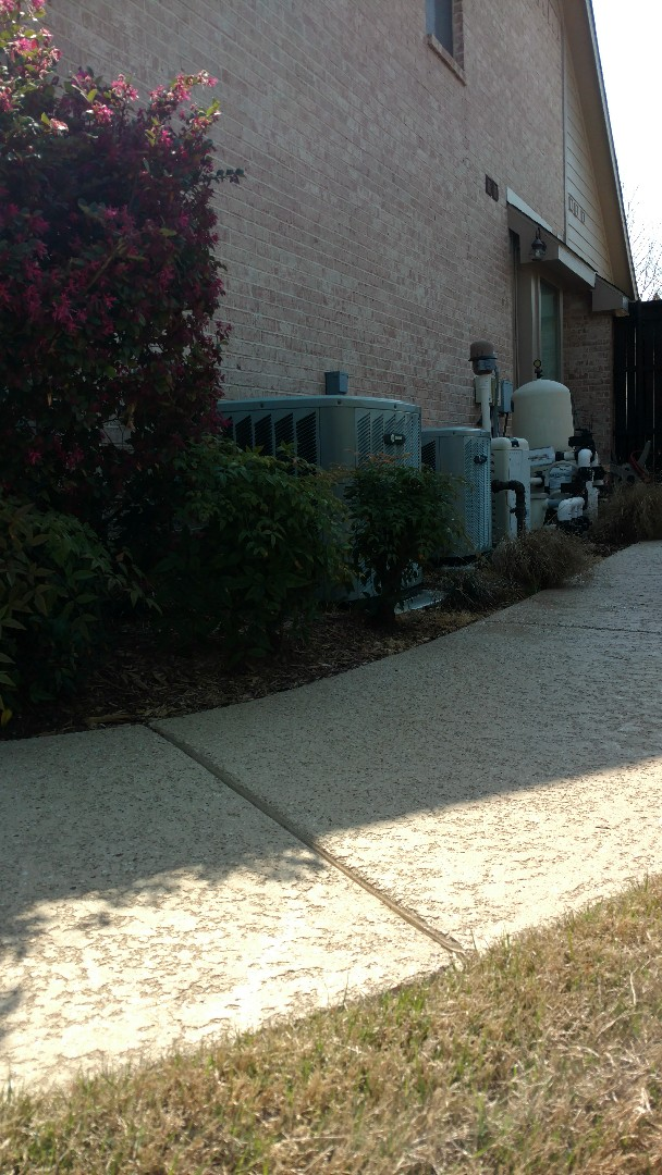 Murphy, TX - Cooling inspections completed on 2 Trane split-systems. Everything checks out good.