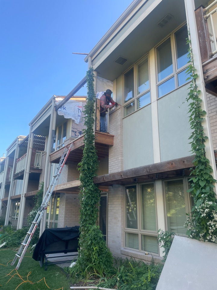 Omaha, NE - We are replacing decks that had water damage behind the wall decking.