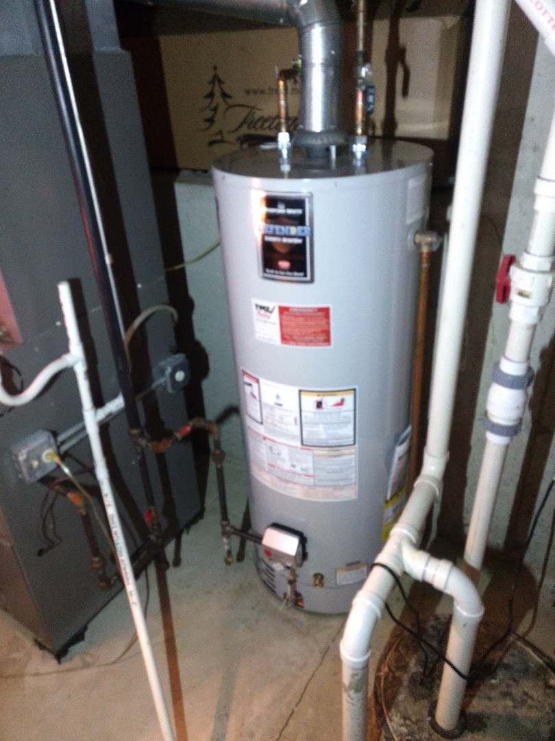 Joliet, IL - Installed 50 gallon Bradford White Water Heater. Disposed of existing heater. Repiped water, gas, and flue exhaust lines.