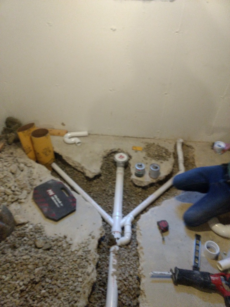 Plainfield, IL - Day 2: basement bathroom install. Installed underground piping for lav sink, toilet, and shower.