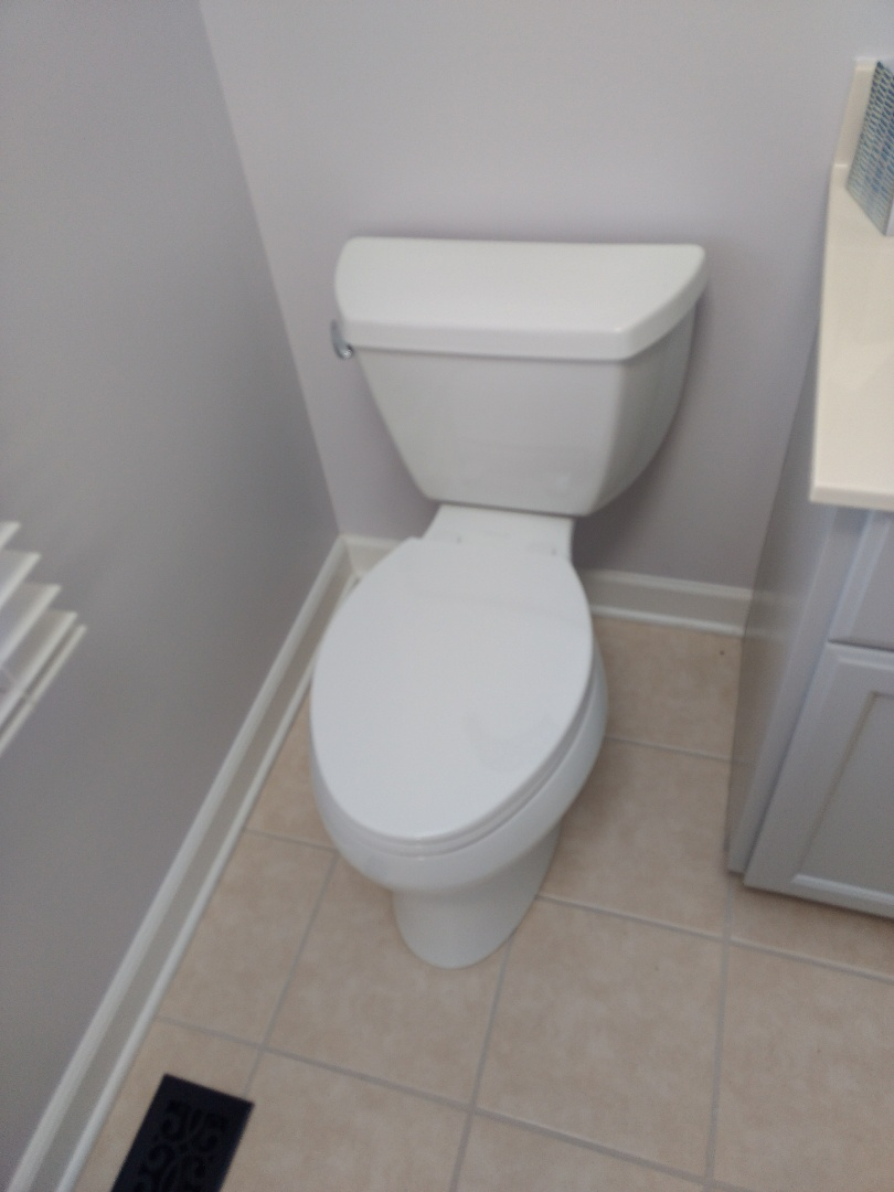 Naperville, IL - Installed customer supplied Kohler toilet. Disposed of existing toilet. Made list of all the necessary trim parts customer will need to get rid of gold trim.