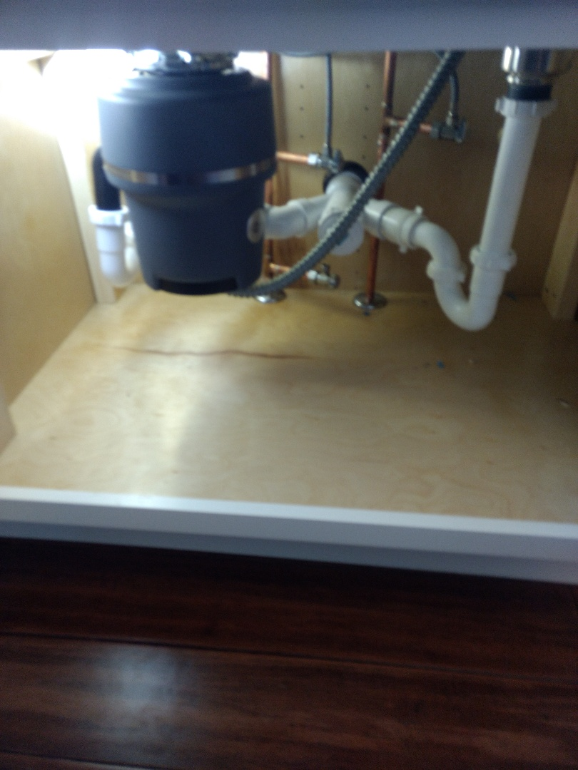 Bolingbrook, IL - Install kitchen sink rough-in Plumbing including double why, 2 air chambers, and three angle stops. Installed basket strainer, garbage disposal, P traps and drains, in Bolingbrook.