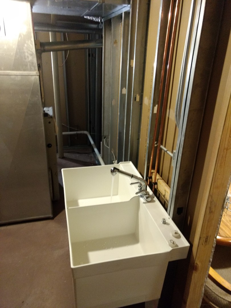 Lockport, IL - Installed new utility tub and Plumbing in basement, in Lockport.