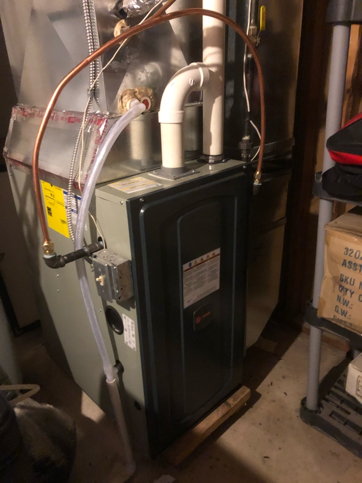 Quality check on installation of Trane high efficiency furnace