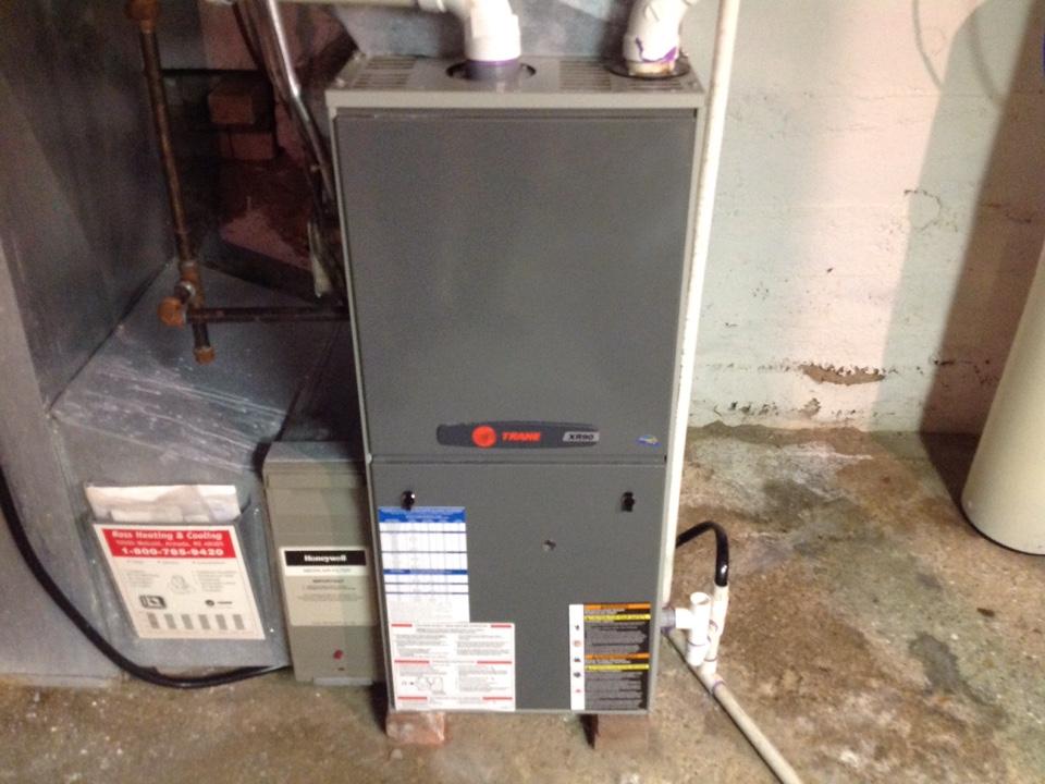Romeo, MI - Maintenance on a residential Trane furnace is Romeo.