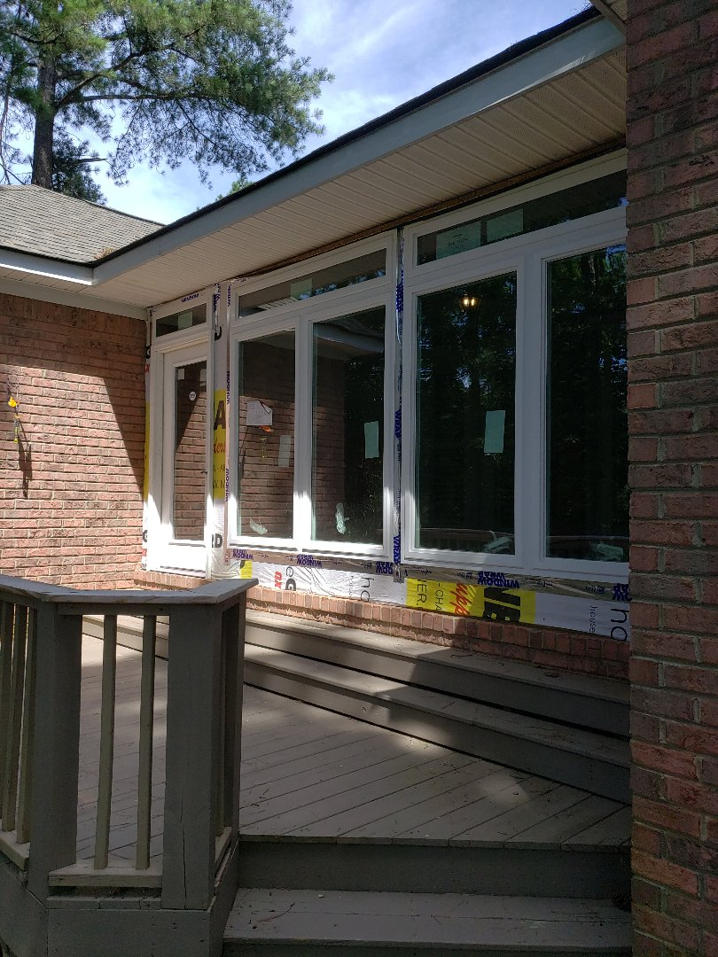 Aiken, SC - Converting a screen porch into an enclosed sunroom using simonton reflection casement windows and a Mitsubishi electric mini split air conditioner