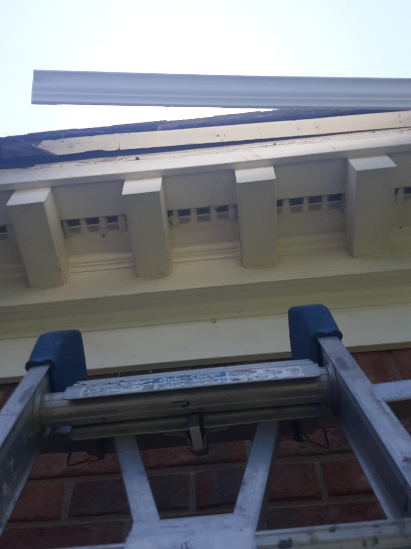 Aiken, SC - South Point Roofing and Construction is prepping this facia board for seamless gutter installation.