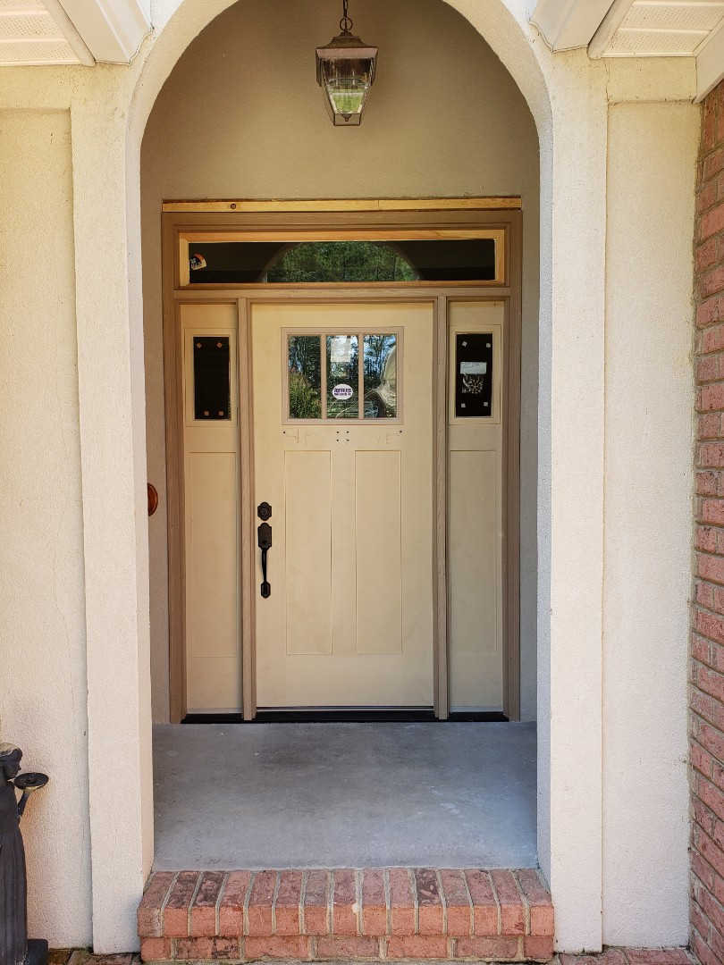 Aiken, SC - Front door replacement with new craftsman style fiberglass door, sidelights, and transom installef by south point in aiken