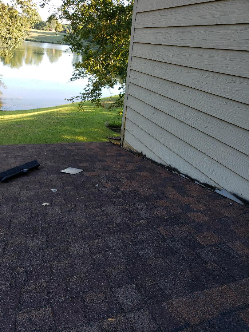 Grovetown, GA - Repairing a leaking architectural shingle roof with bad flashing in grovetown georgia with South Point Roofing and construction using owens corning shingles