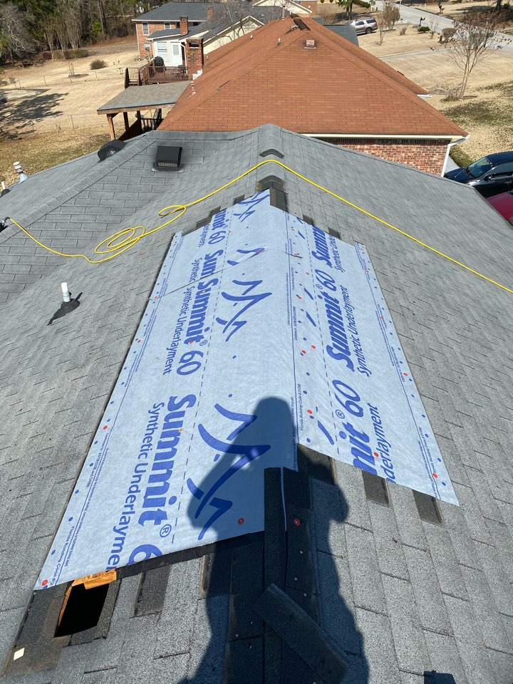 Hephzibah, GA - South Point Roofing and Construction completing a residential roof repair that was previously done by another company the correct way, as well as replacing a 3 in 1 plumbing boot using new Oak Ridge 3 Tab shingles and Synthetic 60 Underlayment in Hepzibah, GA.