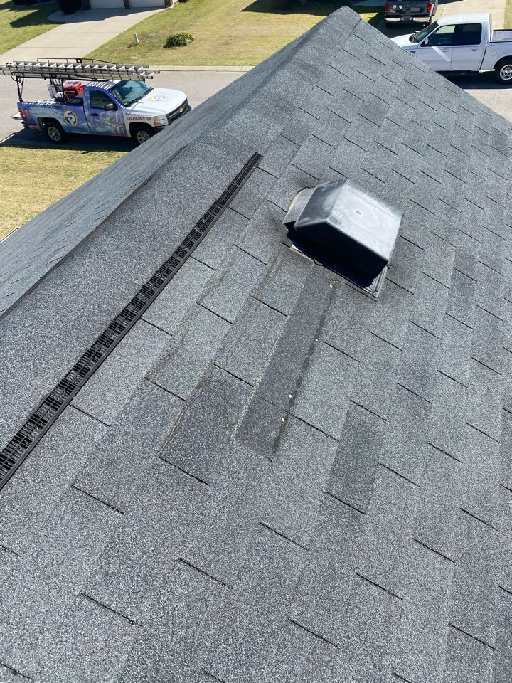 Graniteville, SC - South Point Roofing and Construction repairing wind blown shingles due to recent storms and strong winds on a roof in Graniteville, SC. Call the Pros Who Know!