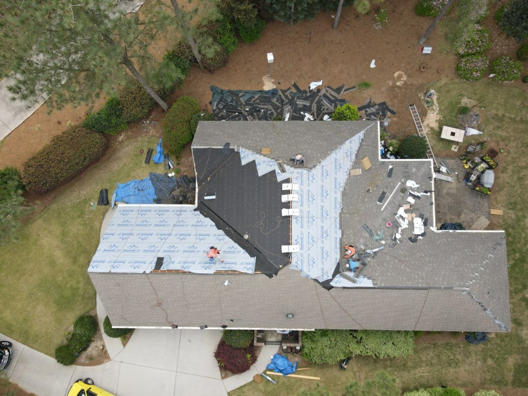 Aiken, SC - South Point Roofing and Construction replacing residential architectural shingle roof with new Atlas Pinnacle Pristine architectural shingles with scotchguard by 3M in Aiken SC