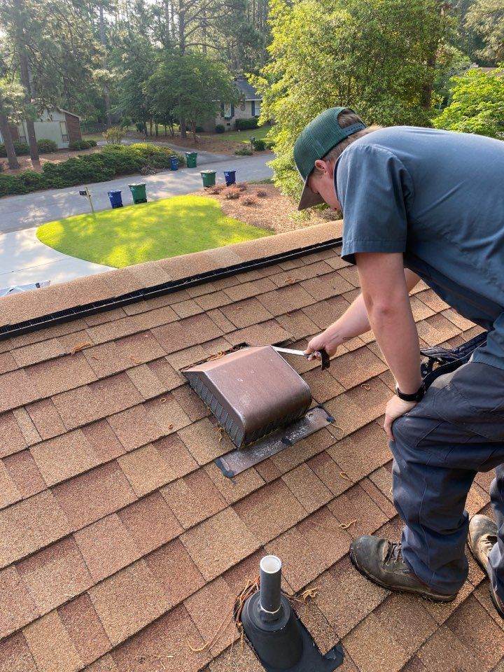 Aiken, SC - South Point Roofing and Construction replacing a 750 vent as well as a 3 in 1 pipe boot using new Atlas Pinnacle Pristine Architectural singles on residence in Aiken SC