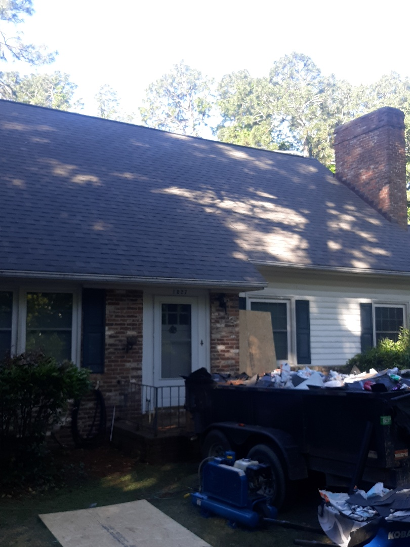 Aiken, SC - South Point Roofing and Construction is replacing a residential roof using Atlas Pinnacle Pristine architectural shingles with Scotchgard by 3M in Aiken, SC.