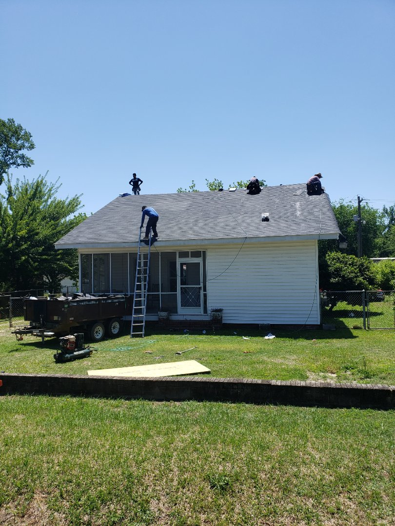 Aiken, SC - South Point Roofing and Construction doing a partial residential roof replacement using Atlas Glassmaster three tab shingles. What can we do for you? 803-648-9399