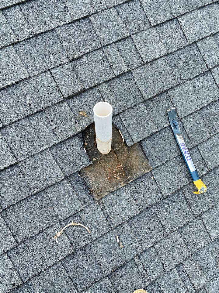 Aiken, SC - South Point Roofing and Construction repairing  leaking plumbing boot on residence in Aiken SC