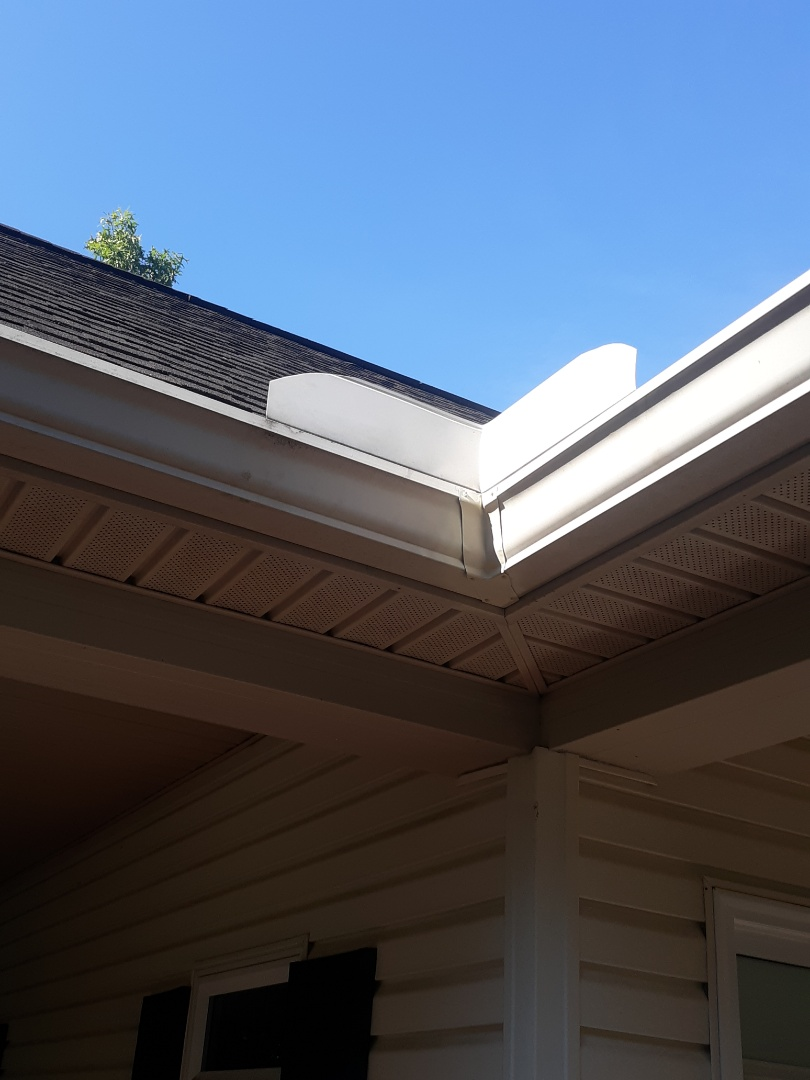 Aiken, SC - South Point Roofing and Construction is replacing a leaking miter on a gutter in Aiken, SC.