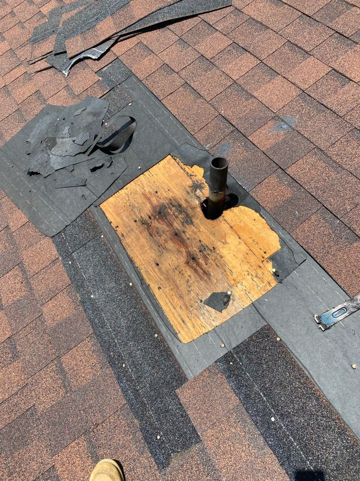 North Augusta, SC - South Point Roofing and Construction repairing roof leak caused by plumbing boot. Using new IPS 3 in 1 style Plumbing boot as well as repairing damaged hip shingles in North Augusta SC