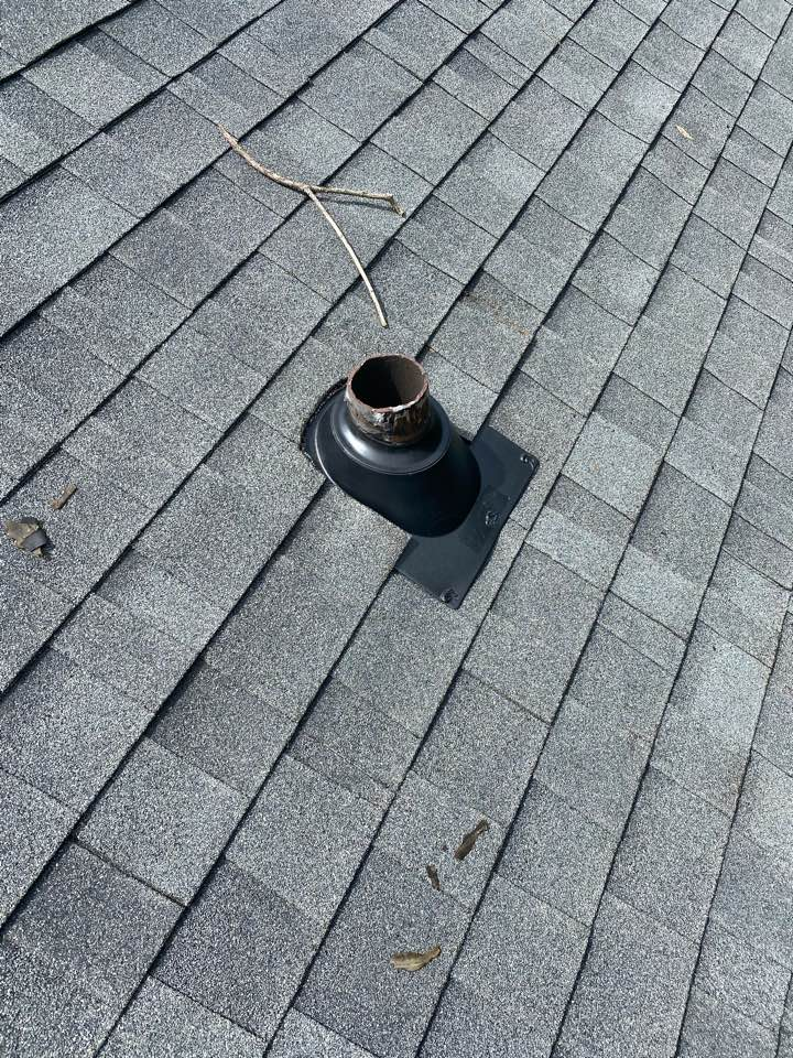 Aiken, SC - South Point Roofing and Construction repairing roof leak caused by plumbing boots. Replacing with new IPS 3in1 style boots and replacing decayed/broken 1x8 roof decking in Aiken SC