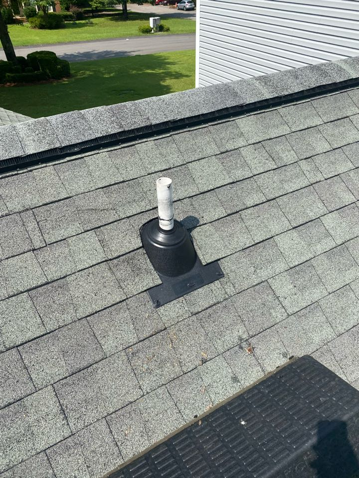 Aiken, SC - South Point Roofing and Construction repairing roof leak caused by plumbing boots. Installing new IPS 3in1 Style boots in Aiken SC