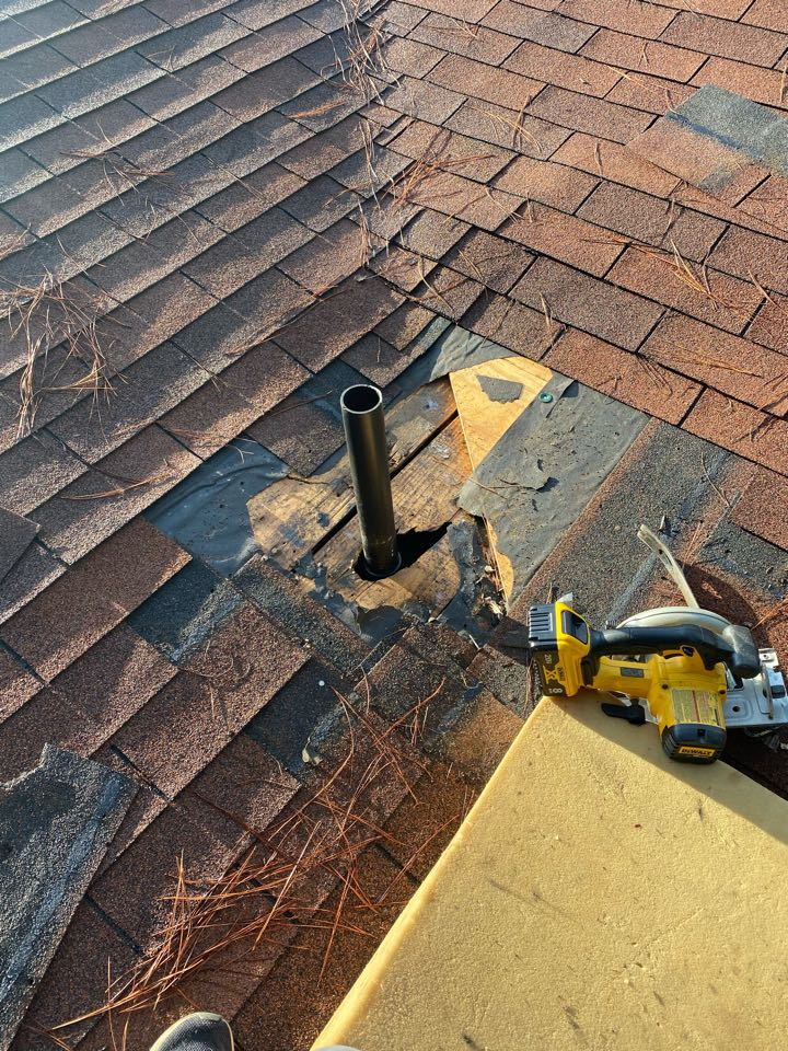 Denmark, SC - South Point Roofing and Construction repairing roof leaks caused by dry rotted plumbing boots and tree damaged shingles in Denmark SC