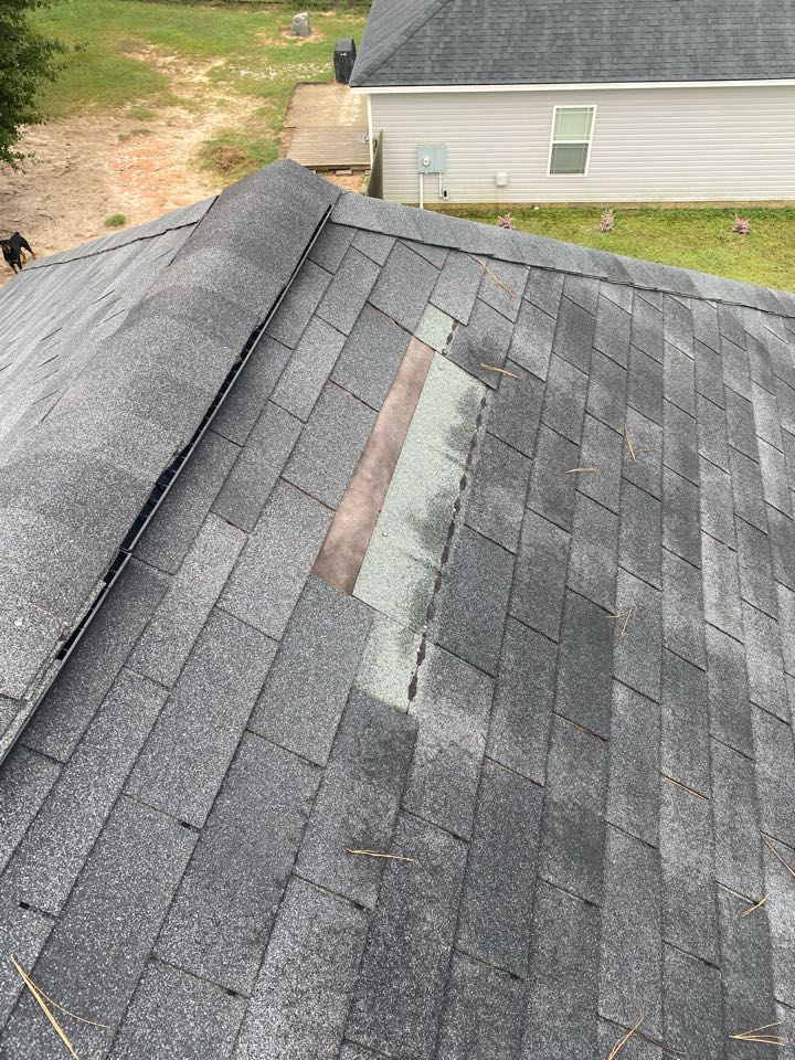 Graniteville, SC - South Point Roofing and Construction repairing roof leak caused by missing shingles less than 24 hours after original call in Graniteville SC