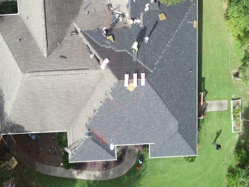 Edgefield, SC - Beautiful drone shot on re roof in Edgefield SC. Owens Corning Oakridge Onyx Black Shingles being installed.