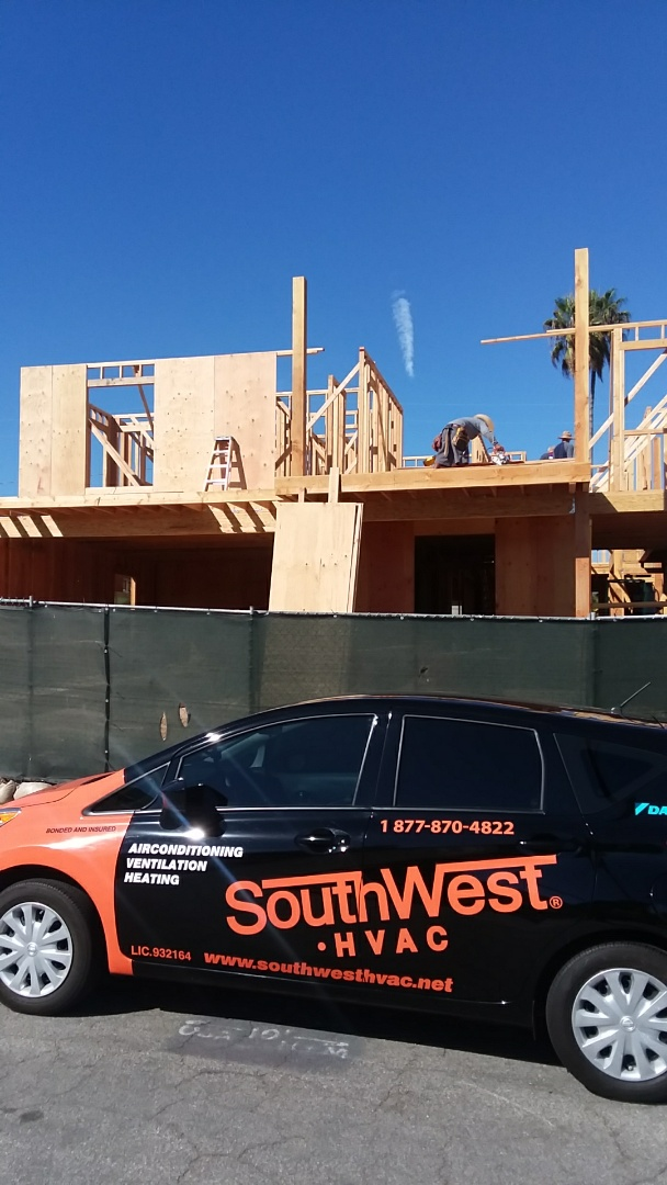 Here in Manhattan Beach doing a free furnace and air conditioning estimate for new construction