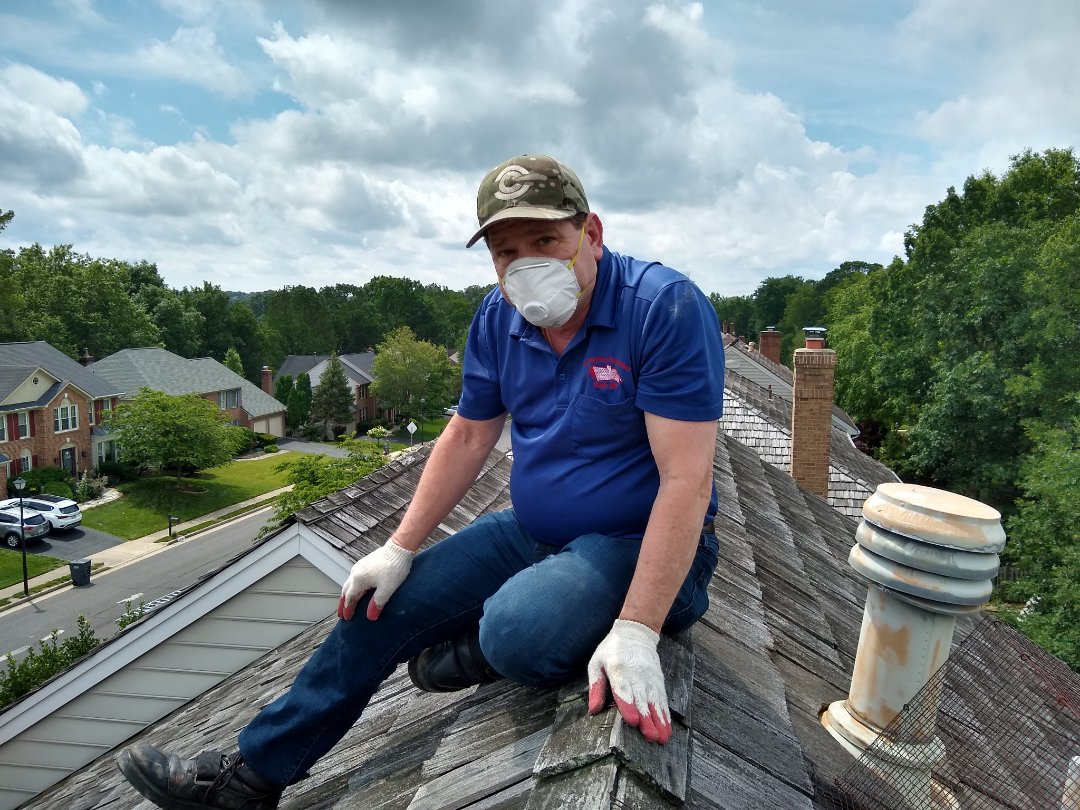 Manassas, VA - Herndon, VA - Mr. Hill performing a roof inspection on a wood shake roof! #HillRoofing #FairfaxCounty #VARoofer #AffordableRoofingCompanyNearMe #LocalRoofers #RoofMaintenanceCompany #RoofingCompanyNearMe #RoofingCompany #RoofingNorthernVA #RoofingFairfaxVA #RoofingArlingtonVA #RoofingCentrevilleVA #Roofing #ContractorVirginia #ManassasRoofingContractor #CommercialRoofing #NorthernVirginiaRoofer #RoofReplacement