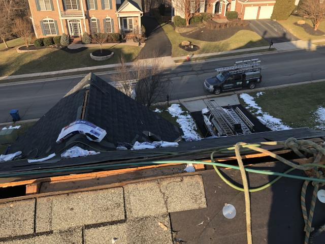 Leesburg, VA - Leesburg, VA - Residential roof replacement in progress. Homeowner selected GAF Timberline HD architectural shingles.