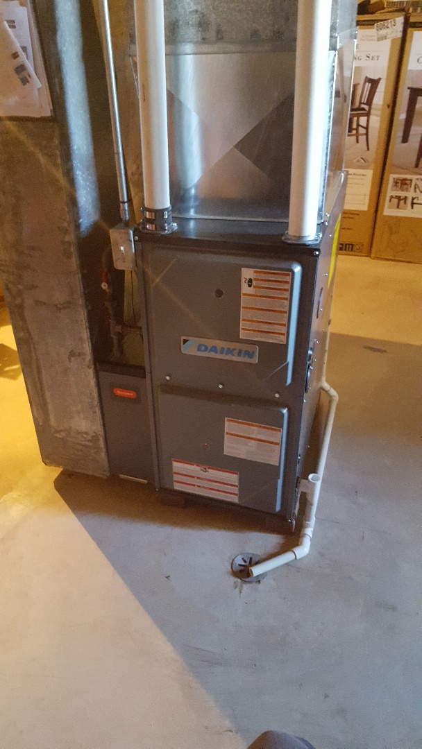 Port Washington, WI - Install Daikin high efficiency two-stage gas furnace with high efficient Honeywell air filter and Wi-Fi thermostat