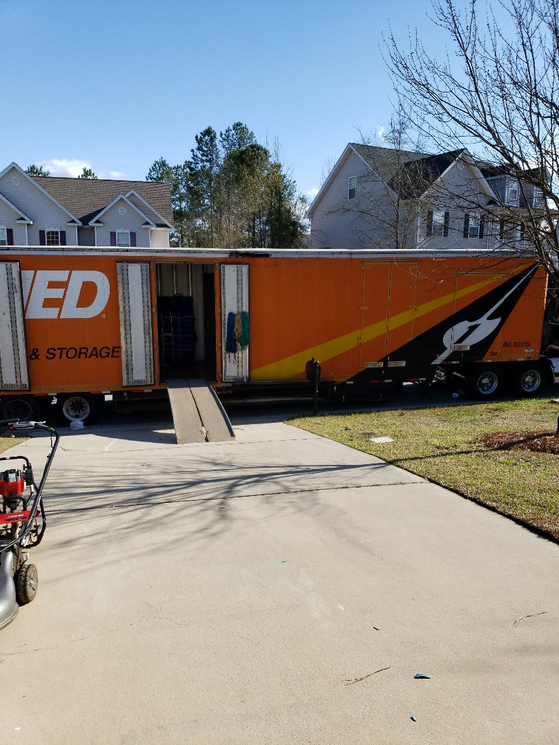 Unloading customer into their new home in SC.
