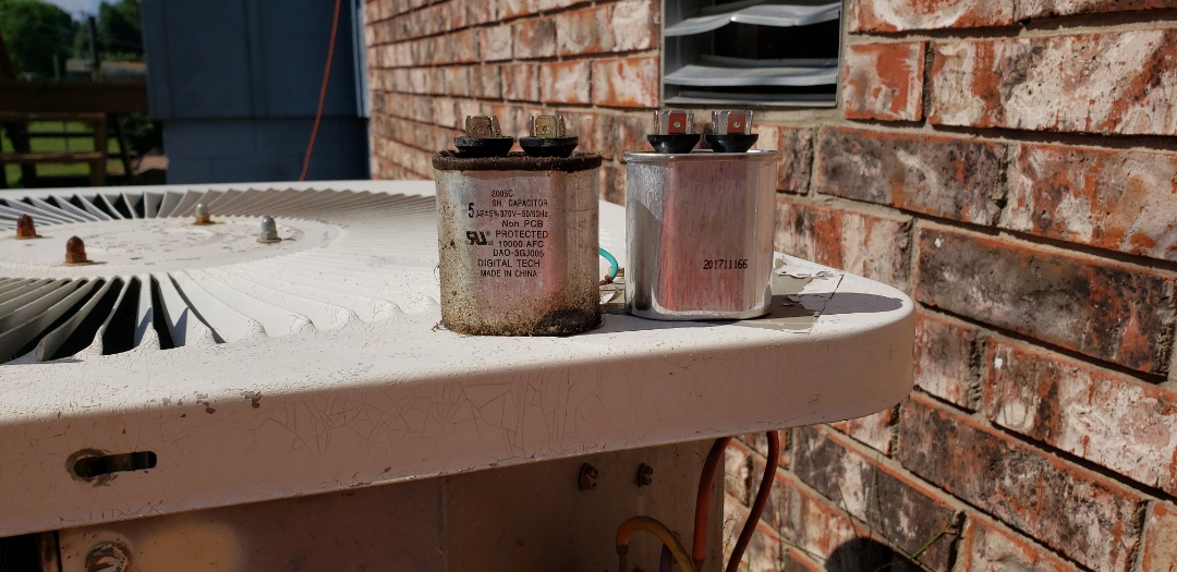 Drumright, OK - Weekend service call in Drumright, weak capacitor,  and bad service breaker.