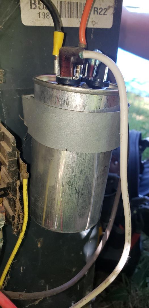 Service call in Tulsa, bad capacitor on Trane ac.