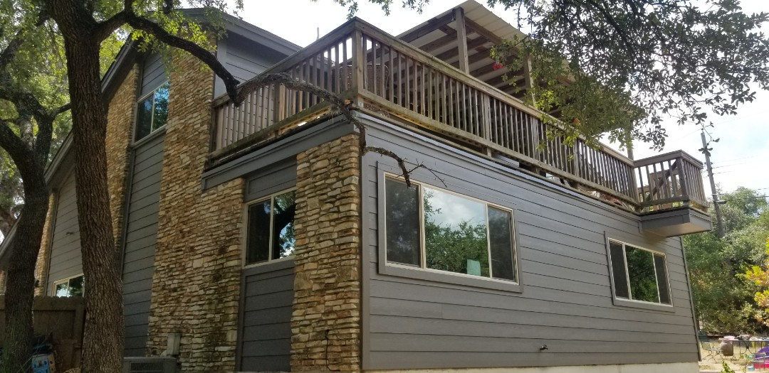 Austin, TX - Just replaced all the siding on this beautiful 2 story home with James Hardie Lap siding, looks brand new!