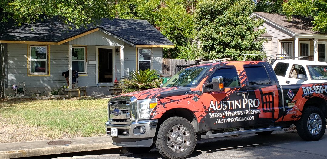 Austin, TX - Second stage of a complete triple trade makeover all by Austin Pro Siding, Windows and Roofing. GAF roof completed, Alside Fairfield 70 Series Windows in process, and James Hardie siding after the window install.