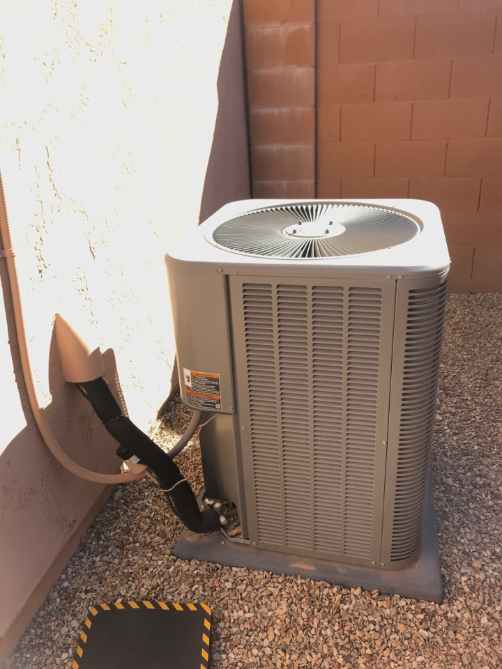 Cooling maintenance on Lennox air conditioner in Tuscany Falls Pebble Creek Goodyear.
