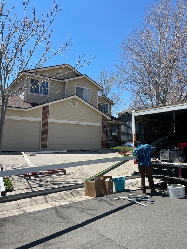 Broomfield, CO - Gutter installing and facia repair! Gutters were leaking and damaged some of the facia, we are helping out this homeowner take care of those issues!