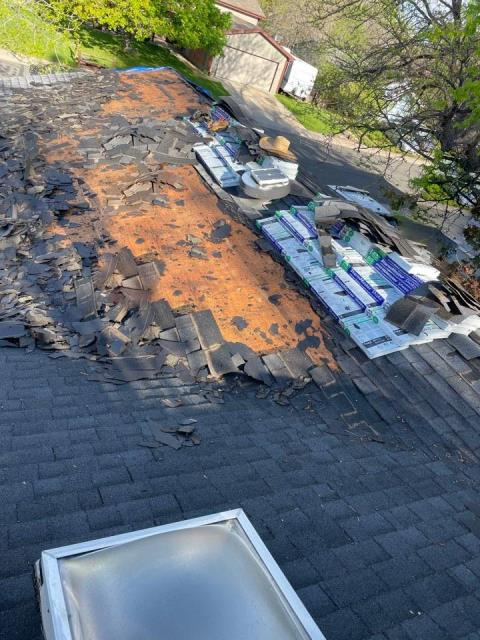 Fort Collins, CO - Removing 3 layers off this roof! We are replacing it with Atlas Storm Master Shake.