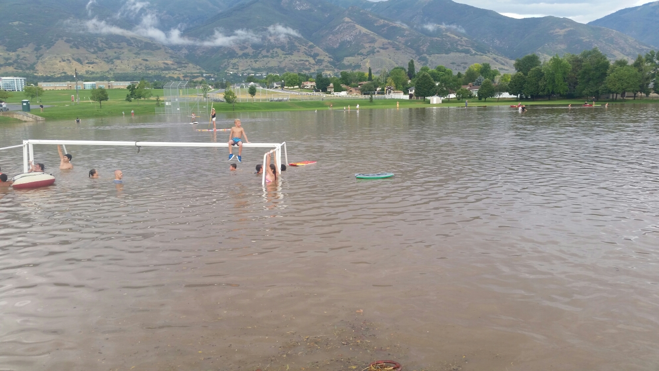 Kaysville, UT - This is Davis High School in Kaysville, gives you a good idea of how much rain we got today. Those are the goal posts you can see!