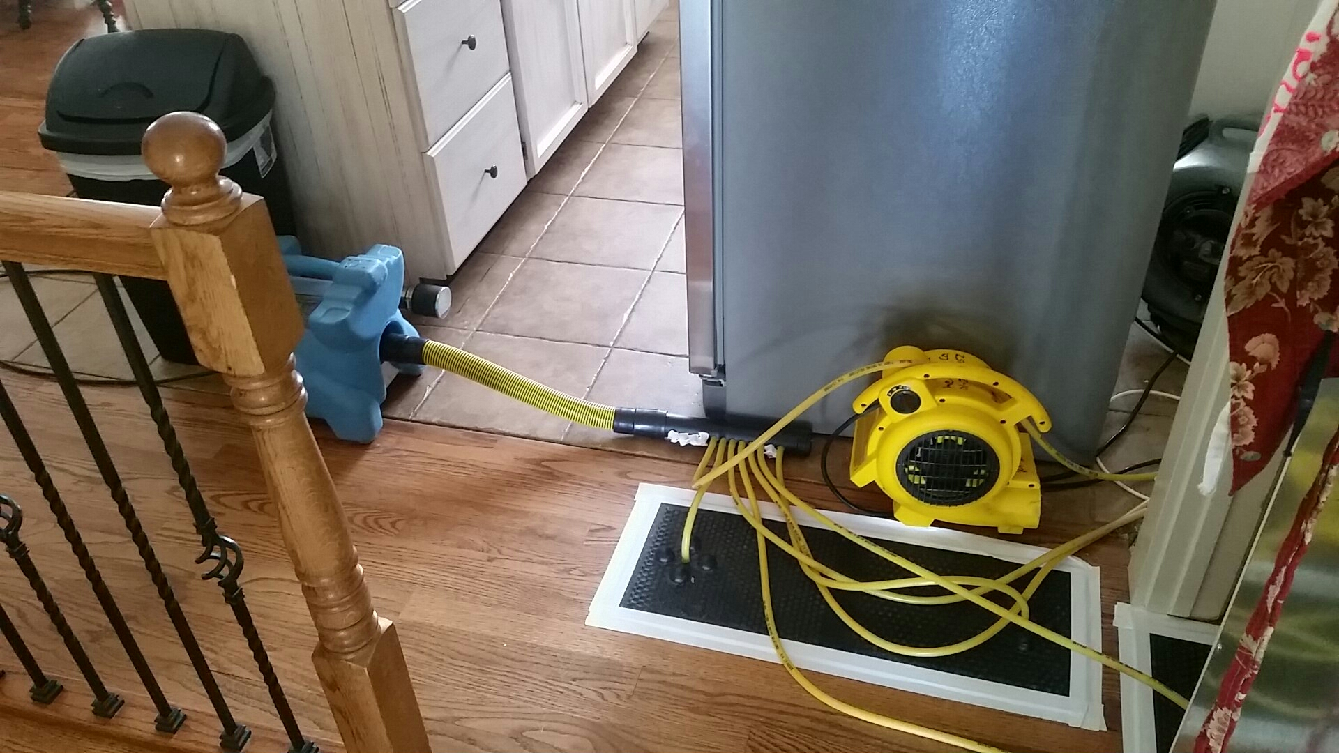 South Jordan, UT - Just set up a hardwood floor drying system on a job in South Jordan. They had a flood from their refrigerator, thankfully their floor can be saved!