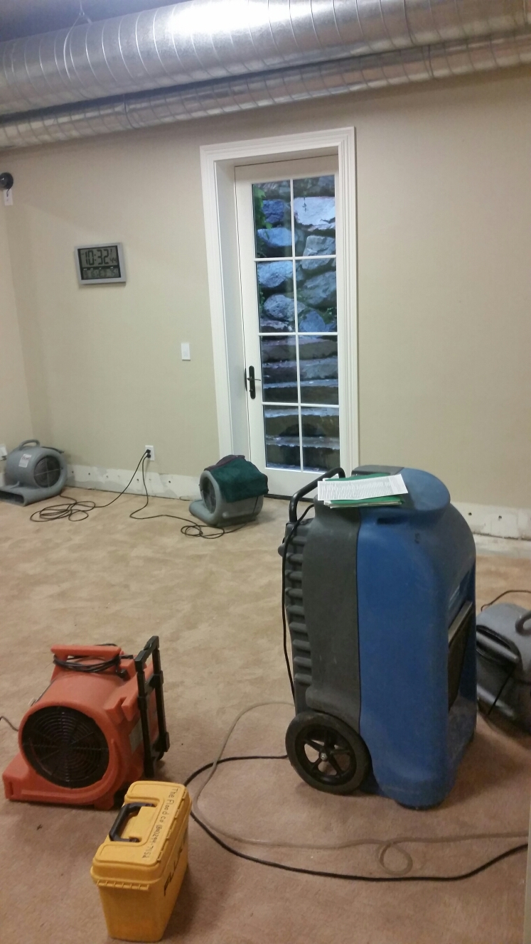 Lehi, UT - With the recent rainfall and precipitation, down south this lehi homeowner experienced a fair bit of moisture in the living room. Once pad if removed then drying can begin.