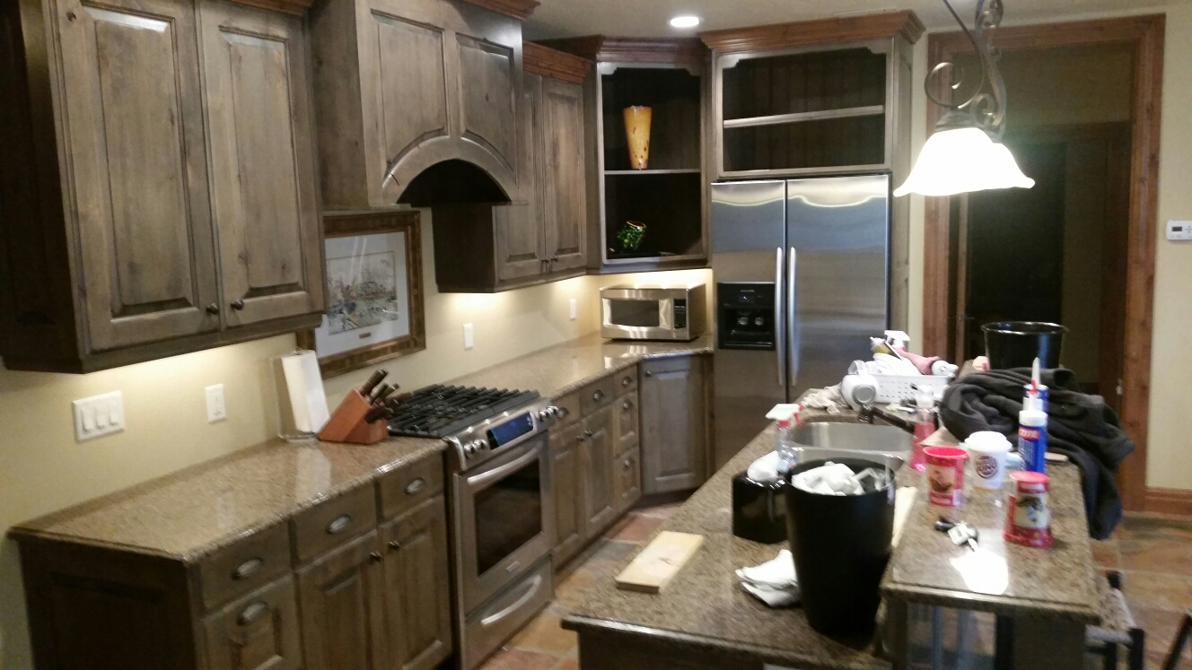 Holladay, UT - Just putting the last finishing touches on this very beautiful kitchen. We ended up tearing it almost completely apart, due to extensive mold/water damage, all and all I think it came back together very nicely. http://www.thefloodco.com