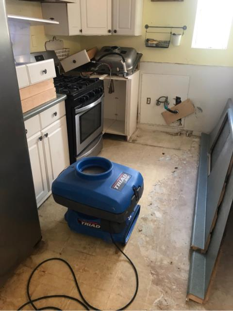 San Diego, CA - A dishwasher leak caused significant water damage through the entire kitchen. Provided water mitigation, dry out services, and restored kitchen to pre-loss conditions.