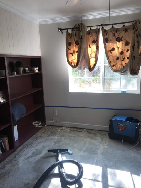 Vista, CA - Flood damage occurred to the home from rain entering the home. Mulitple rooms affected flooring, baseboards, and drywall. Provided water mitigation services, dry out, and replacement of areas damaged by water.