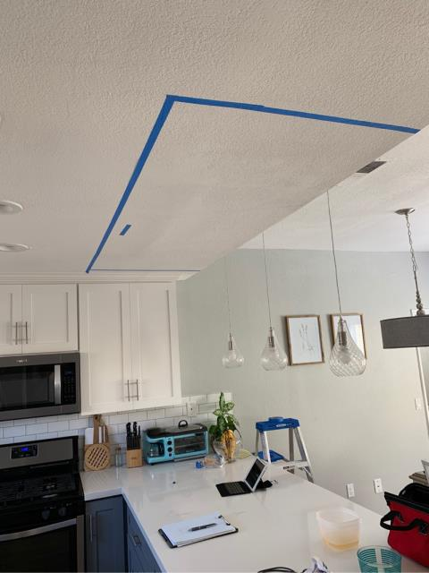 Vista, CA - A leak in the ceiling of the kitchen. Provided water damage services, removal of drywall, dry out, and restoration of the affected area.